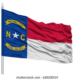 Isolated North Carolina Flag on Flagpole, USA state, Flying in the Wind, Isolated on White Background