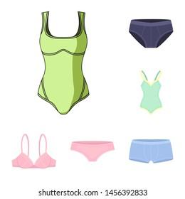 Isolated object of bikini and fashion icon. Collection of bikini and swimsuit stock bitmap illustration.