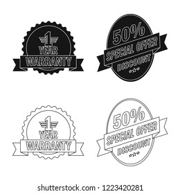 Isolated object of emblem and badge symbol. Set of emblem and sticker stock symbol for web.