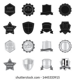 Isolated object of emblem and badge symbol. Set of emblem and sticker bitmap icon for stock.