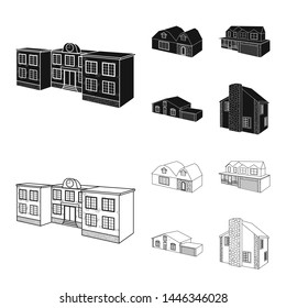 Isolated object of facade and housing symbol. Collection of facade and infrastructure stock bitmap illustration.