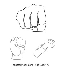 Isolated object of fist and punch symbol. Collection of fist and hand bitmap icon for stock.