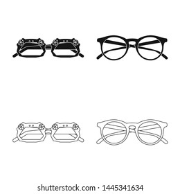 Isolated object of glasses and sunglasses icon. Set of glasses and accessory bitmap icon for stock.