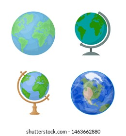 Isolated object of globe and world symbol. Collection of globe and earth stock symbol for web.