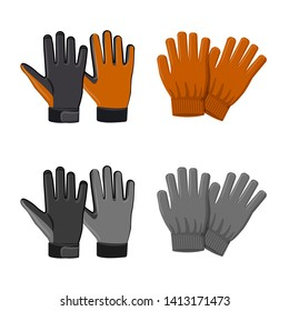 Isolated object of glove and winter icon. Set of glove and equipment bitmap icon for stock.