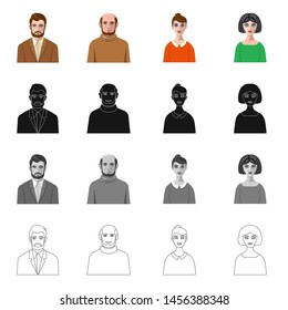 Isolated object of hairstyle and profession icon. Collection of hairstyle and character stock bitmap illustration.