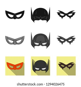 Isolated object of hero and mask icon. Collection of hero and superhero bitmap icon for stock.