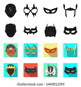 Isolated object of hero and mask icon. Set of hero and superhero stock symbol for web.