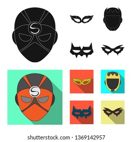 Isolated object of hero and mask sign. Set of hero and superhero bitmap icon for stock.