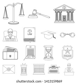 Isolated object of law and lawyer sign. Set of law and justice stock bitmap illustration.