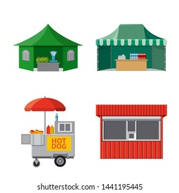 Isolated object of market and exterior logo. Set of market and food bitmap icon for stock.