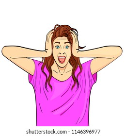 Isolated object on white background. Young girl, brunette screams, holds herself by the head. Psychological disease, hysterics. Comic style, raster illustration