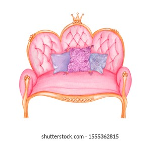 Isolated object on a white background. Watercolor pink royal sofa.