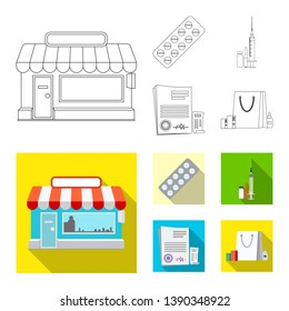 Isolated object of pharmacy and hospital icon. Set of pharmacy and business stock bitmap illustration.