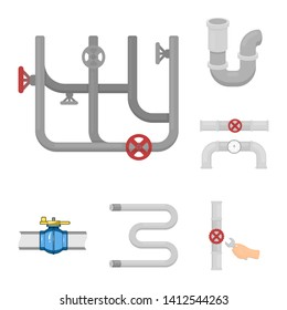 Isolated object of pipe and plumbing symbol. Set of pipe and metal stock bitmap illustration.