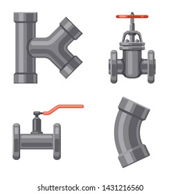 Isolated object of pipe and tube logo. Set of pipe and pipeline stock symbol for web.