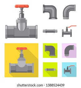 Isolated object of pipe and tube symbol. Collection of pipe and pipeline stock bitmap illustration.