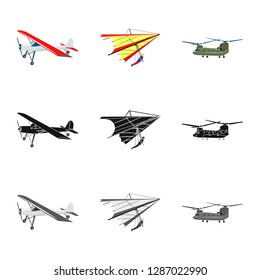 Isolated object of plane and transport logo. Collection of plane and sky bitmap icon for stock.