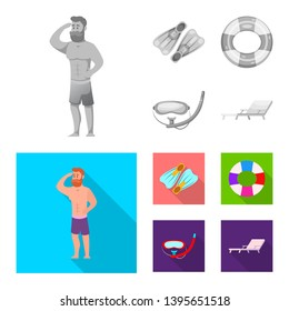 Isolated object of pool and swimming sign. Collection of pool and activity stock symbol for web.