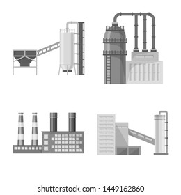 Isolated object of production and structure symbol. Collection of production and technology stock bitmap illustration.