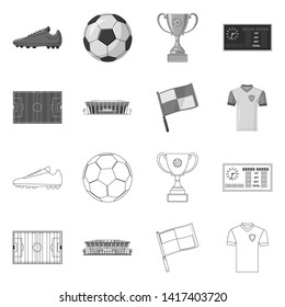 Isolated object of soccer and gear icon. Set of soccer and tournament bitmap icon for stock.