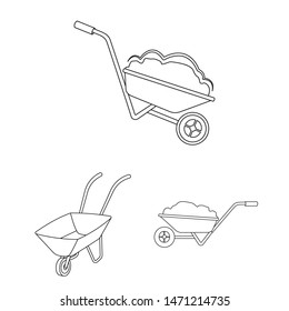 Isolated object of wheelbarrow and dirt logo. Collection of wheelbarrow and barrow stock symbol for web.