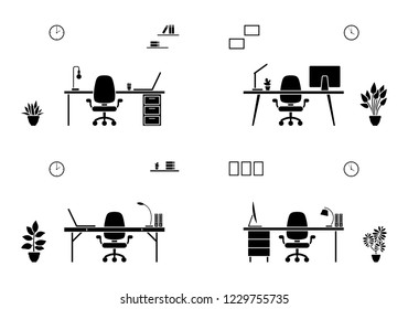 Isolated office furniture silhouette icon. Black and white table, chair, laptop, desktop outline