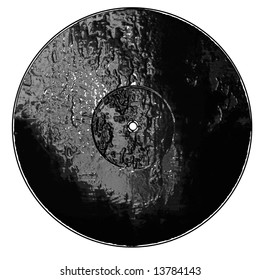 Isolated old vinyl record on a solid white background