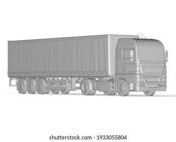 Mockup Abstract Heavy Semi Trailer Truck Isolated on White, Transportation Vehicle, Delivery Transport TIR, Euro Cargo Logistic Concept, Freight Shipping, International Delivering Industry, 3D Render