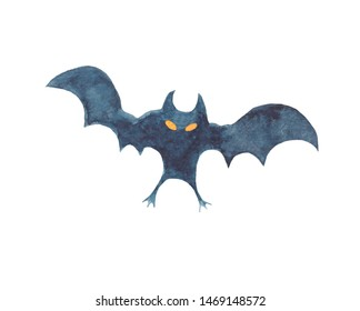 isolated on white background bat silhouettes - Halloween watercolor illustration