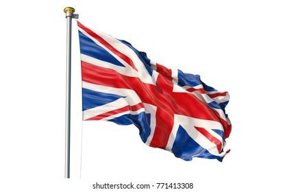 Isolated on white background waving Great Britain flag. UK flag