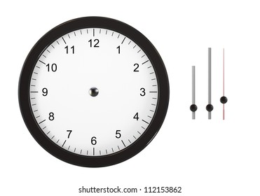 Isolated on white image image of wall clock. You can set the time thanks to separate hours, minutes and seconds hands. Computer generated image. The image contain clipping path.