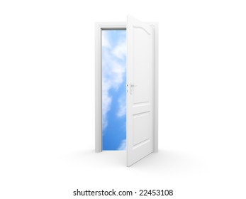 Isolated open door with sky view. For other similar images from the series, please, check my portfolio.