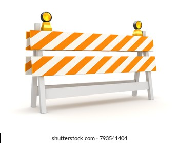 Isolated Orange Roadblock , This is a 3d rendered computer generated image. Isolated on white.