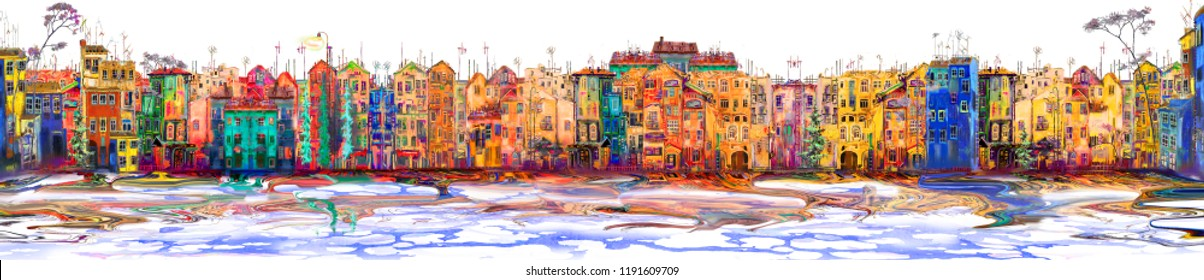 Isolated panorama of colorful town near the sea. Oil painting cityscape.