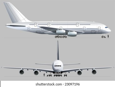 Isolated passenger Airbus. Vector version illustration see in my portfolio.