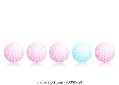 Isolated pastel blue golf ball between pink on white background for copy space. Sport minimal concept.