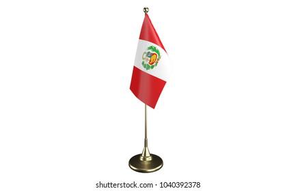 Isolated Peru desktop flag. 3d render