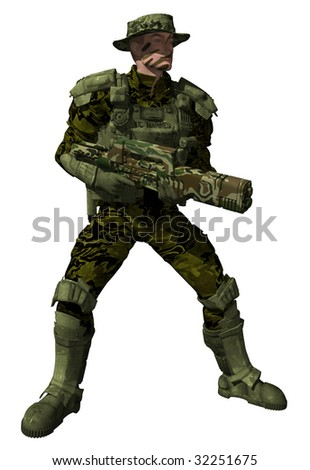 An isolated picture of a Colonial Marine Ranger in full jungle camouflage  in a combat stance 9a89064c6f4