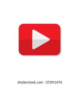 Isolated play sign. Red and white digital element. Designed media button. Audio video player digital symbol. Rectangular app logo.