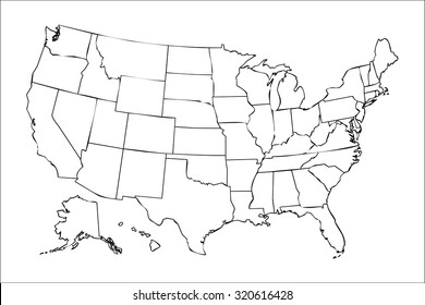 United States Outline Map Images, Stock Photos & Vectors ...