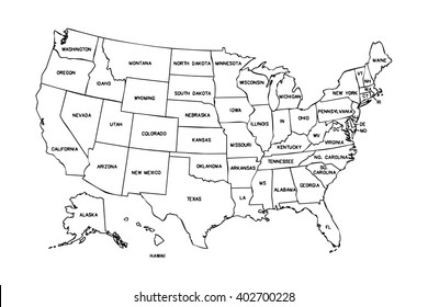 Map American Continent Black Outline On Stock Illustration - Royalty ...