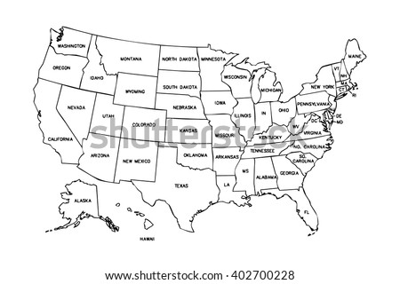 Usa Map Black.Isolated Political Usa Map United States Stock Illustration