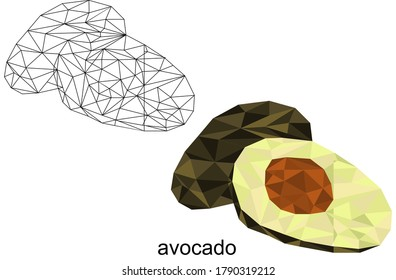 isolated polygonal avocado fruit illustartion