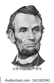 Isolated Portrait of Abraham Lincoln