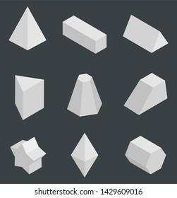 Isolated prisms bright geometric figures set raster illustration with tetrahedron cuboid pentagrammic pentagonal triangular prism and octahedron