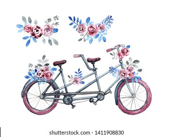 Isolated purple tandem bicycle with bouquets. Purple rose flowers, blue leaves. Hand painted watercolor style
