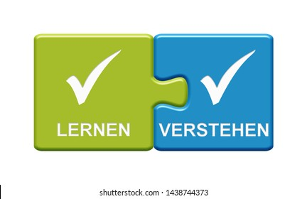 Isolated Puzzle Button with two pieces showing Learn and Undetrstand with tick symbol in german language