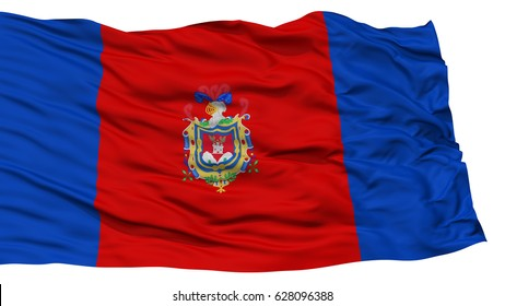 Isolated Quito City Flag, Capital City of Ecuador, Waving on White Background, High Resolution