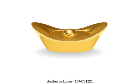Isolated realistic 3D rendering Golden ancient chinese money on white background with clipping path.